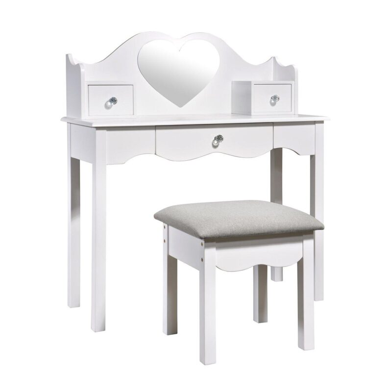 Children's white dressing table with cushioned stool