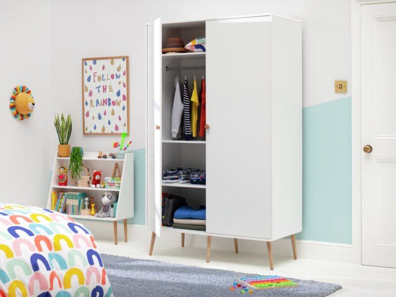 White 2-door wardrobe with splayed oak legs