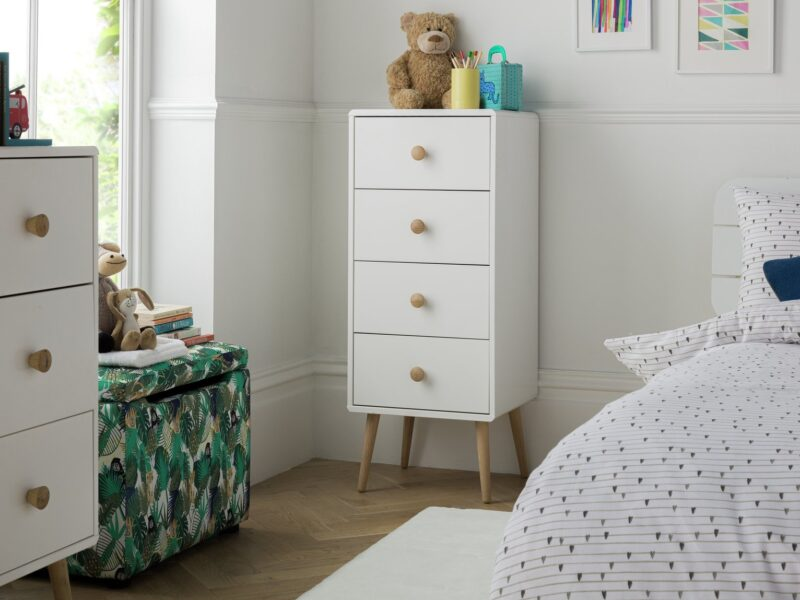Tall, white 4-drawer chest