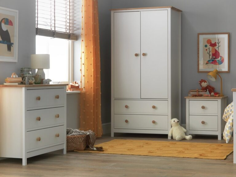 White bedroom furniture with oak trim