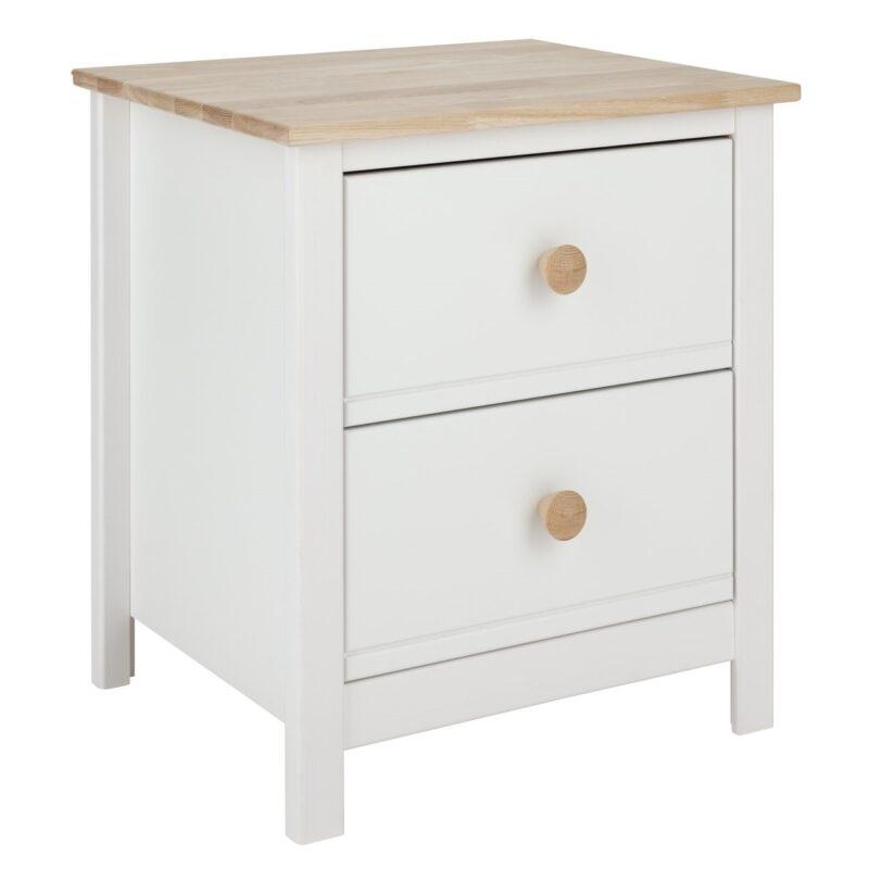 2 drawer bedside unit with oak top