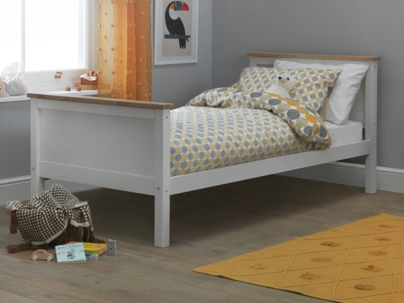 Kid's bed frame with oak trim