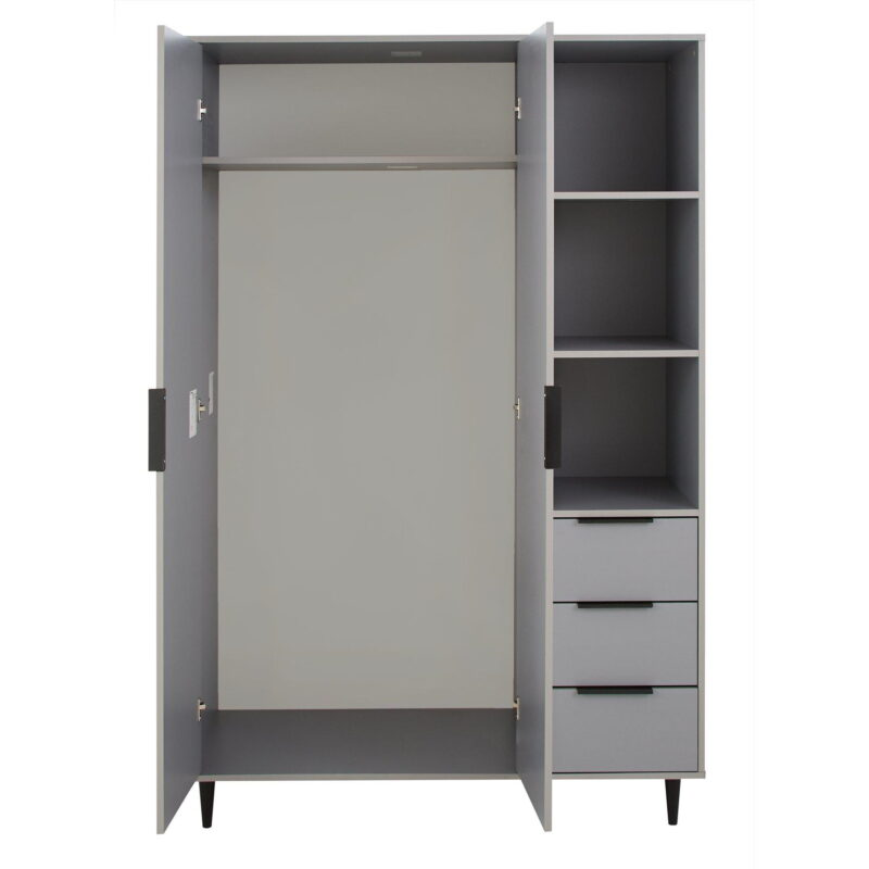 Grey wardrobe with hanging rail, drawers and shelving