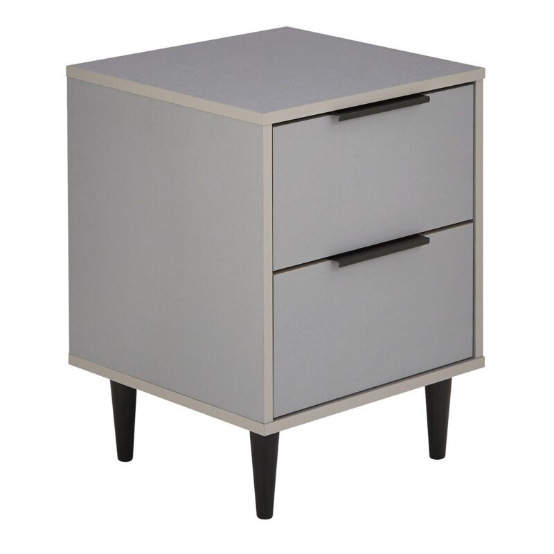 Grey, 2drawer bedside chest