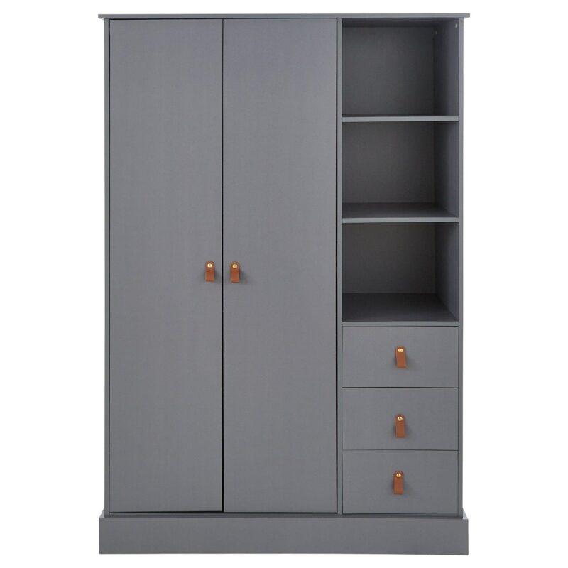Grey 2-door warrobe with shelf space and drawers
