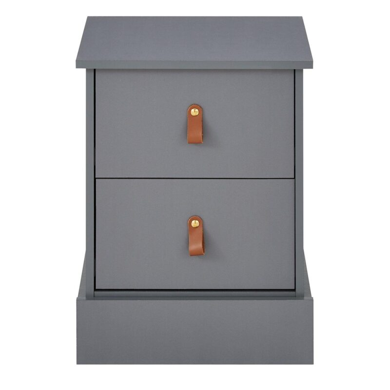 Grey bedside chest with leather loop handles