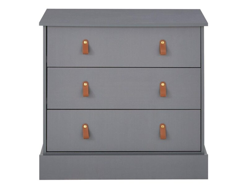 Grey 3-drawer chest with leather loop handles