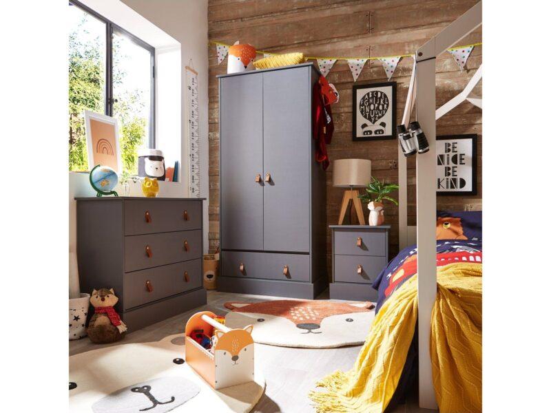Grey children's furniture with loop handles