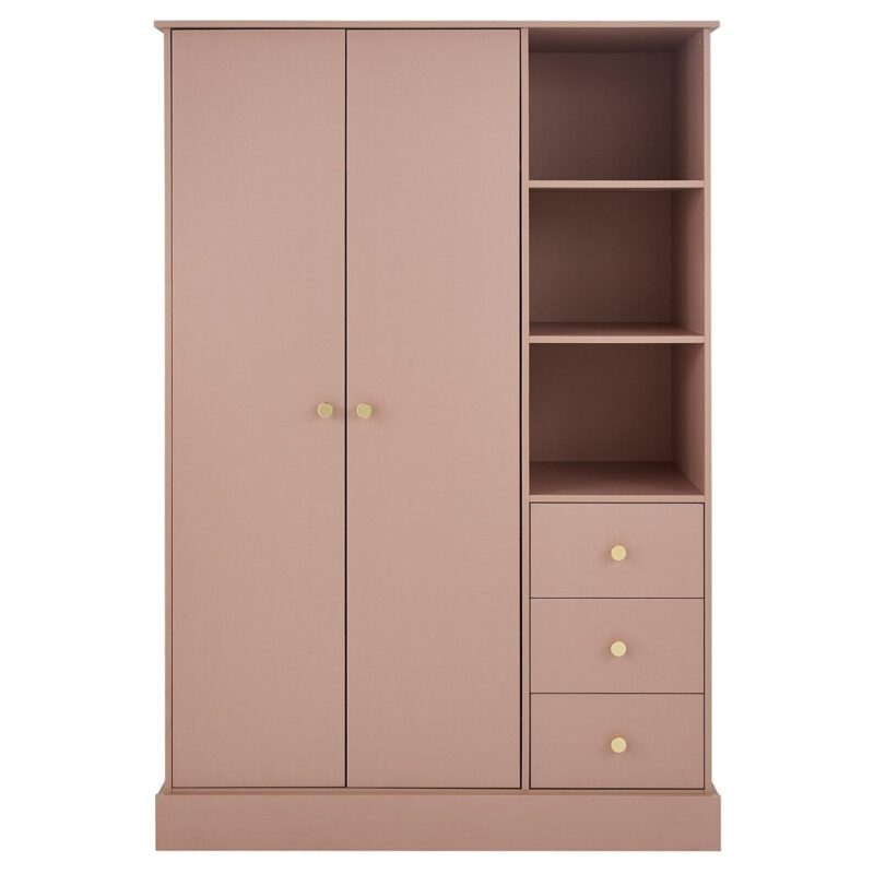 Pink wardrobe with vertical shelving and drawers