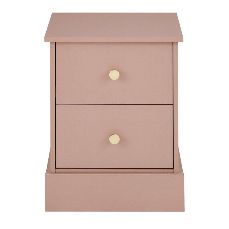 Pink bedside drawer chest