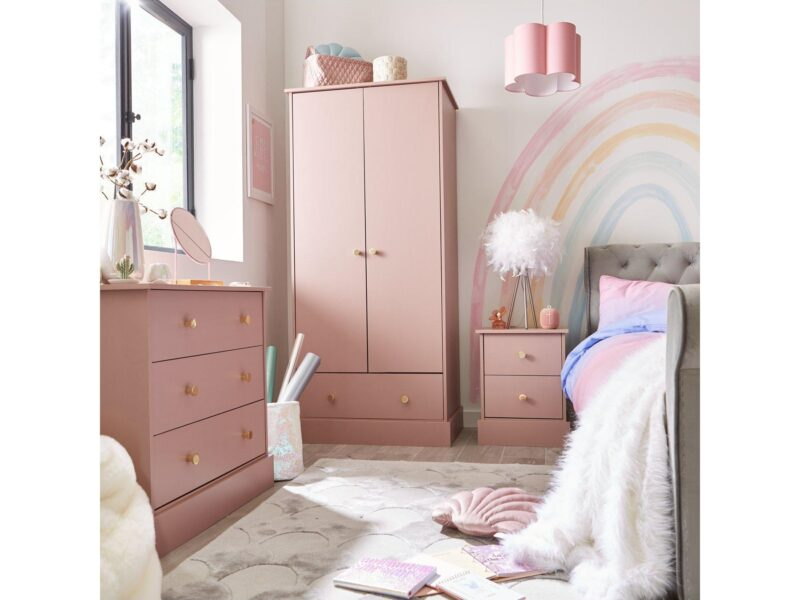 Pink bedroom furniture with gold handles