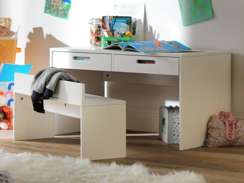 2-drawer desk with bench