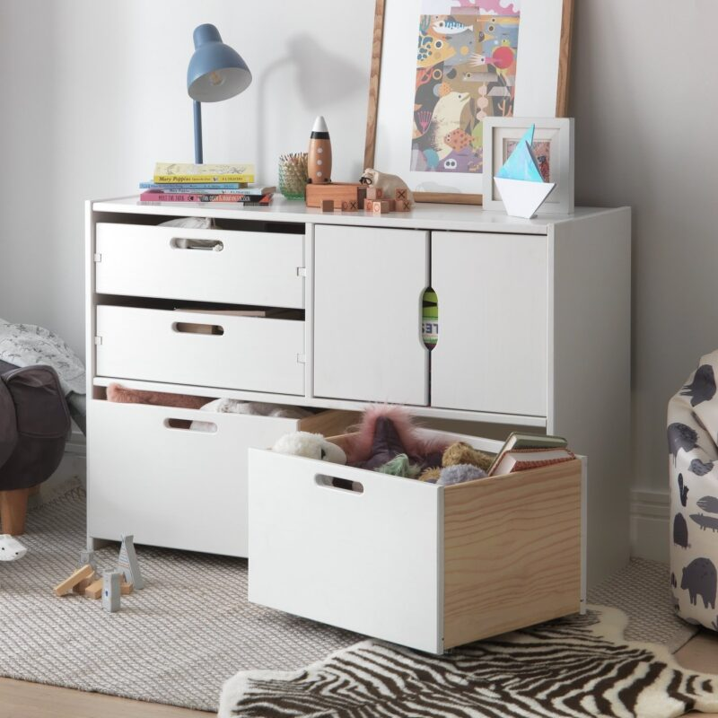 White storage unit with cupboard and drawers