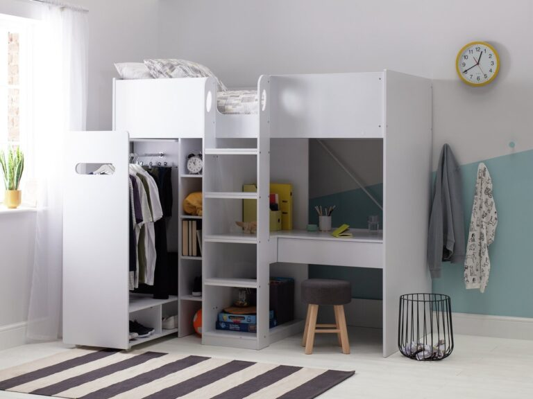 Kid's bed with storage and pull-out hanging rail