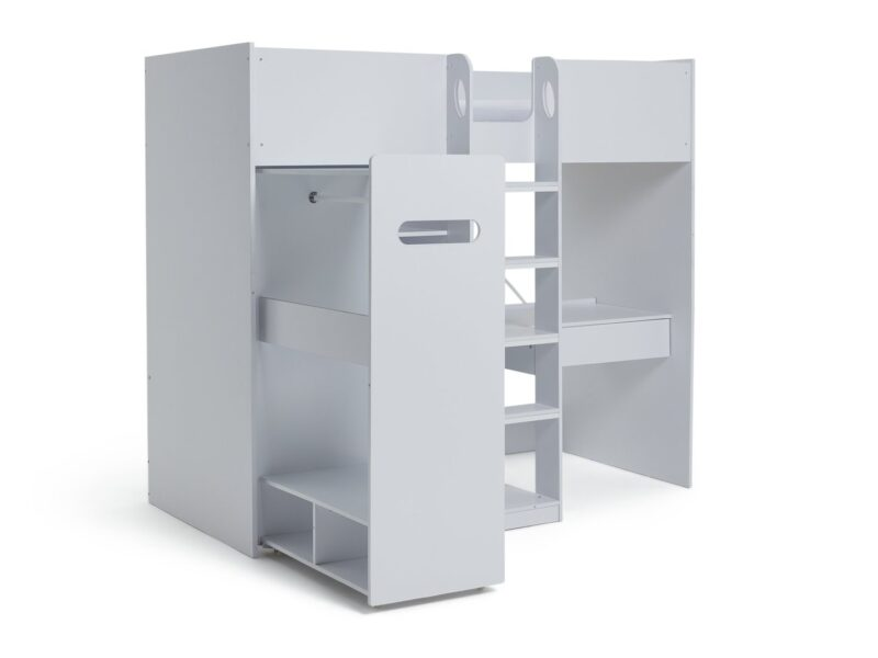 White high sleeper with clothes rail