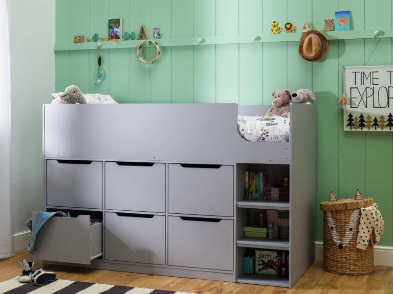Grey midsleeper with drawers