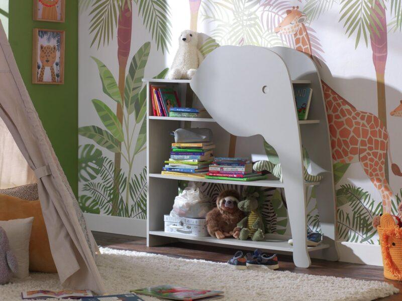 Grey elephant themed bookcase