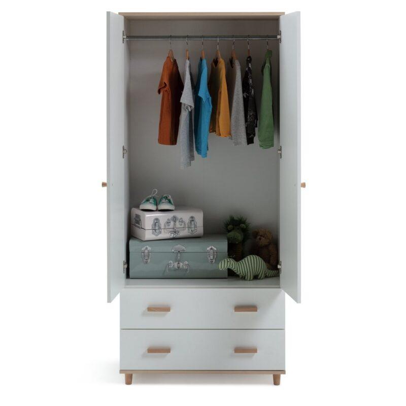 White/acacia double wardrobe with 2 drawers