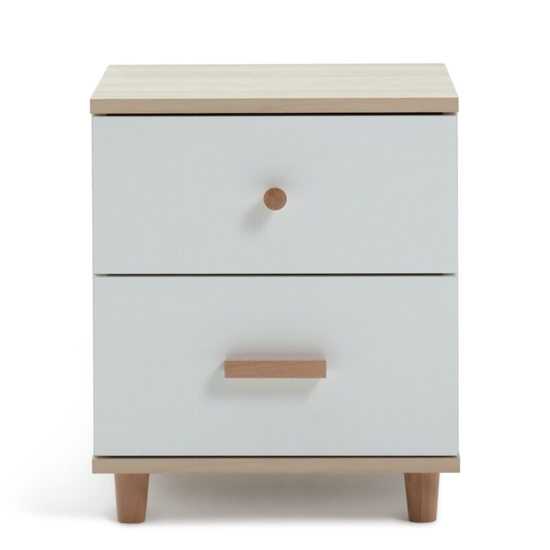 White 2-door bedside chest with wood handles, legs and top