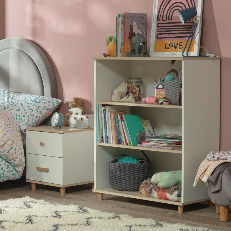 White and acacia 3-tier bookcase
