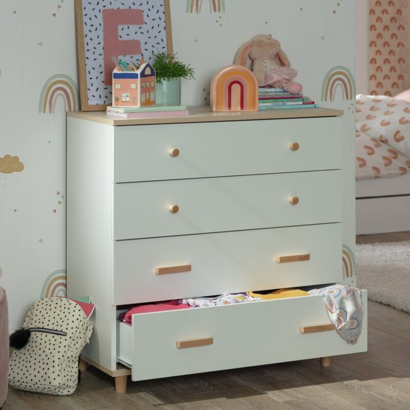 White 4-drawer chest with acacia top and handles