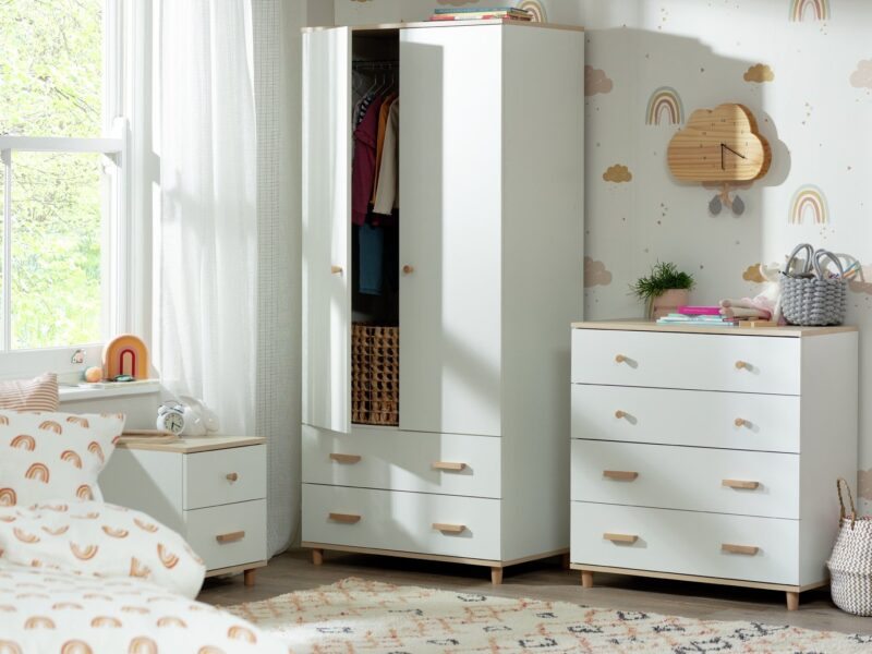 White kid's bedroom furniture with acacia wood handles