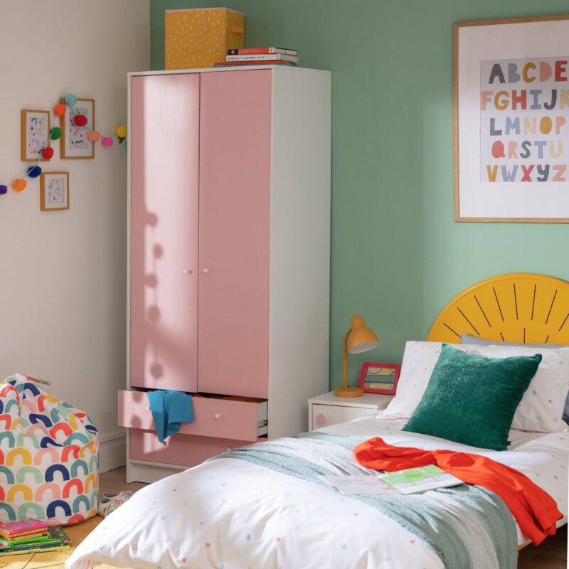 Pink and white wardrobe with 2 drawers