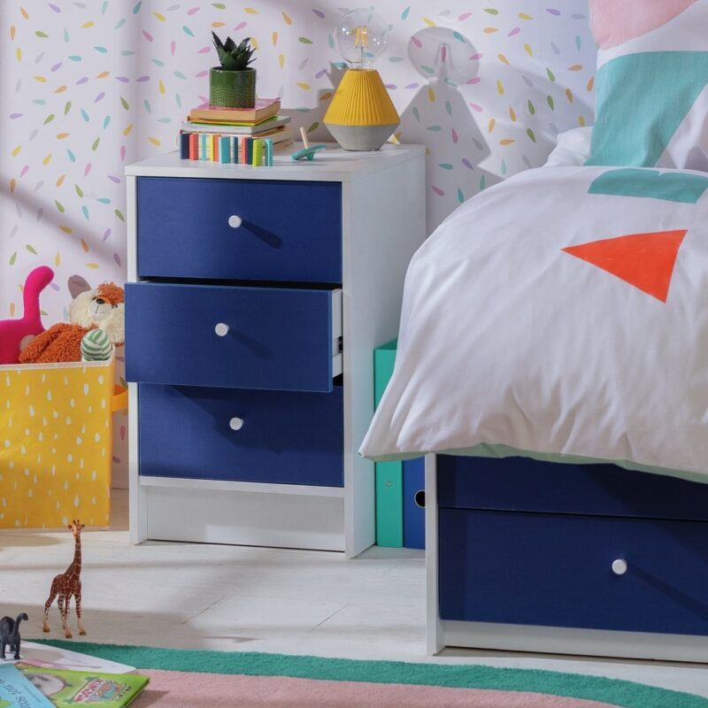 Blue and white bedside chest