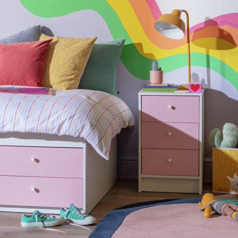 Pinka nd white bedside cabinet