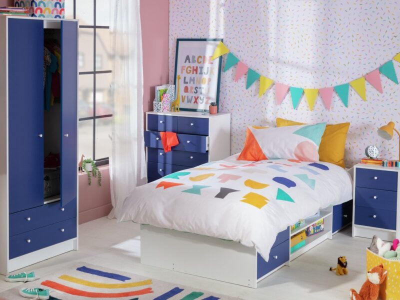 Blue and white children's bedroom furniture