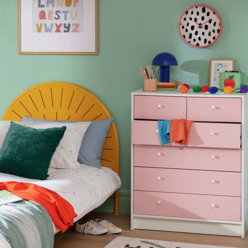 Pink and white drawer chest
