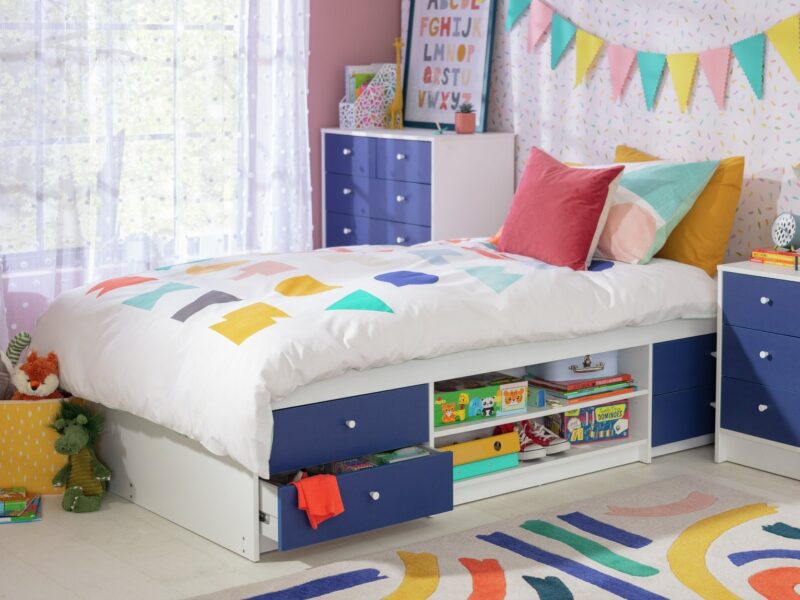 Blue and white cabin bed